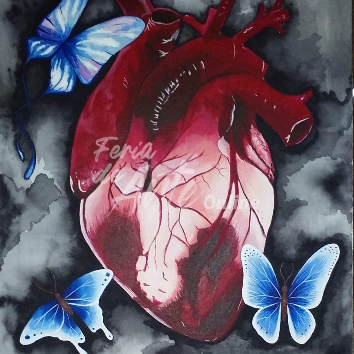 Corazón con mariposas