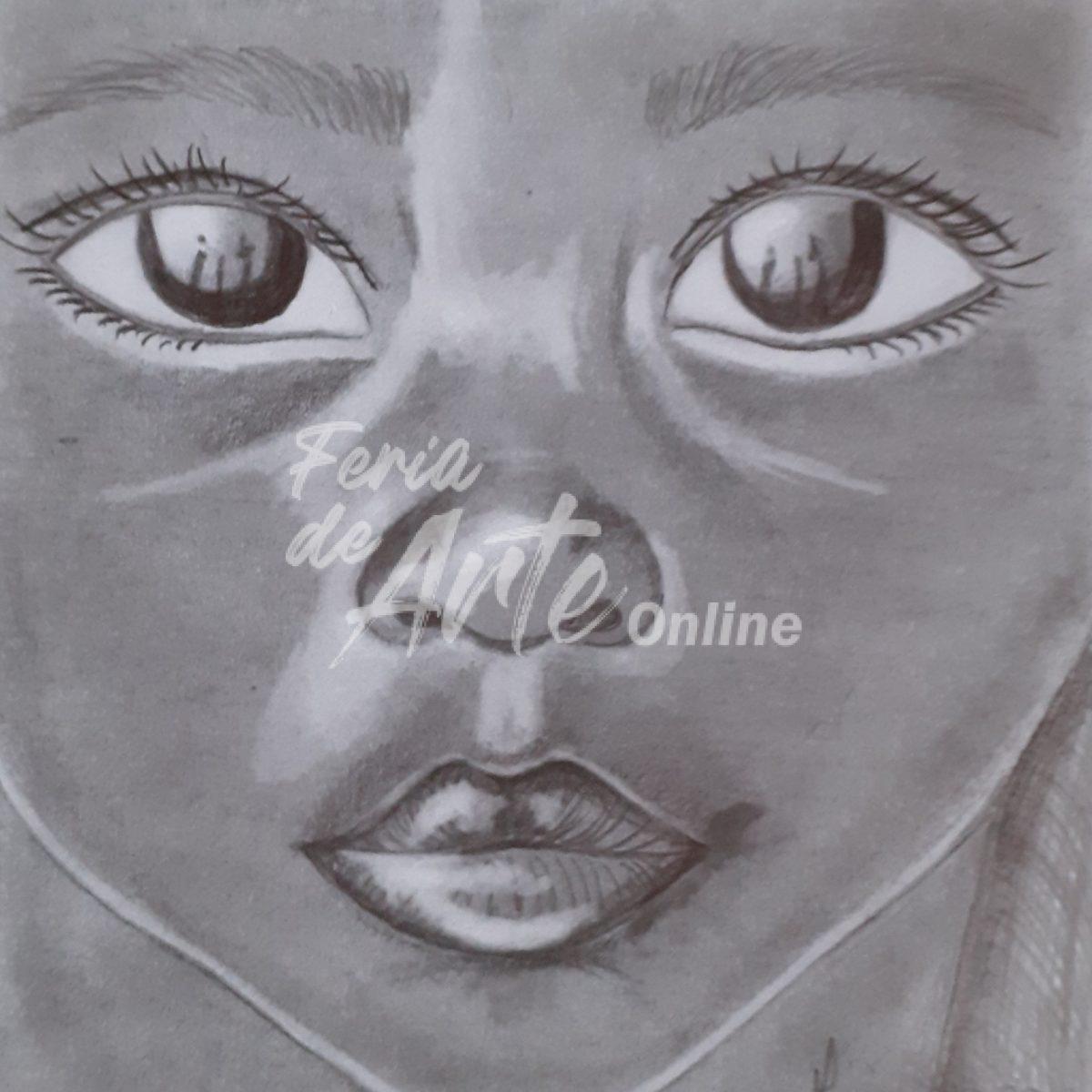 Rostro de niño de piel oscura